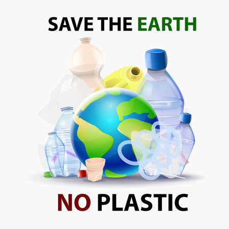 Save the planet from the pollution of plastics - Planet surrounded by plastic garbage. Vector Illusztráció