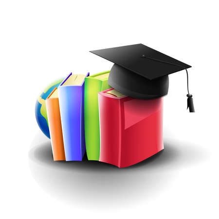 Books and academic material: books and university hat on white background. Vector