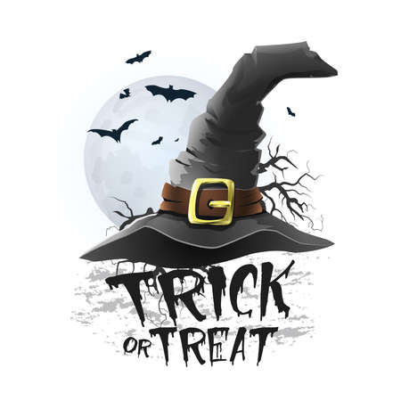 Halloween trick or treat illustration - Witch hat with bats and moon. White background. Vector Illusztráció