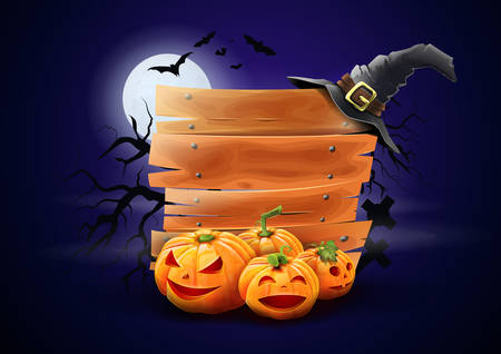 Wooden sign for halloween advertising - Pumpkins and witchs cap around woods. Night background with moon and bats. Vector Illusztráció