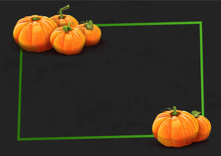 Pumpkins on black background - Green box. Vector