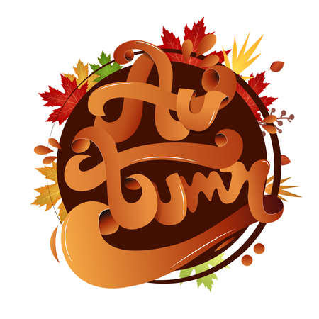 Lettering poster for fall season - Text Autumn with lettering calligraphic style. Background sheets. Vector