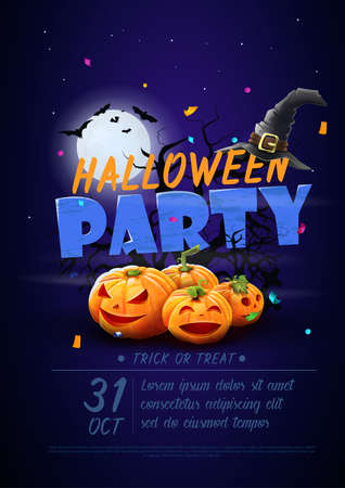 Halloween night party poster - Pumpkins, bats and other elements of halloween night with cartoon style. Vector