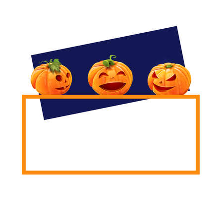Happy Halloween card with funny pumpkins - orange frame with pumpkins and blue background