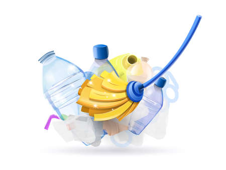 Its time to clean the plastic of our planet - Mop cleaning plastic from the globe Stock Illustratie