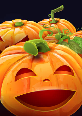 Halloween party flyer with funny pumpkins - dark blue background