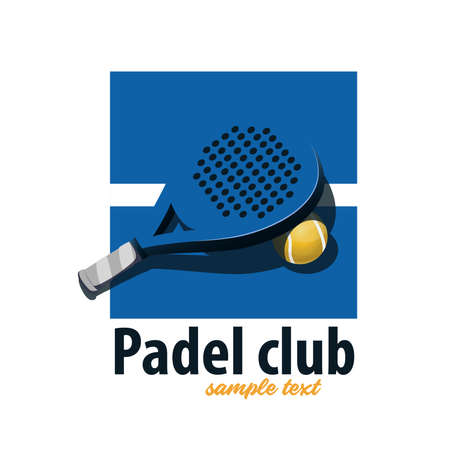 Tennis padel racket. Blue logo - Blue and white track with racket and paddle ball.
