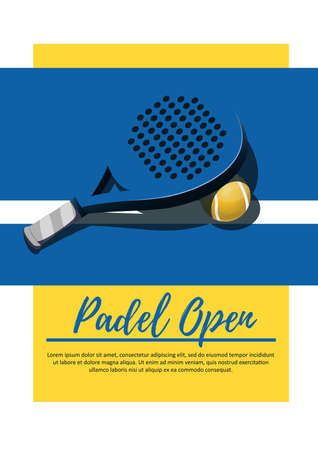 Poster competition padel  - Racket and paddle ball. Blue and yellow background