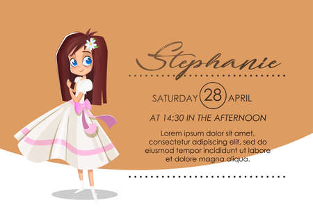 Invitation card First communion: Brunette girl with big eyes and white dress with details in pink