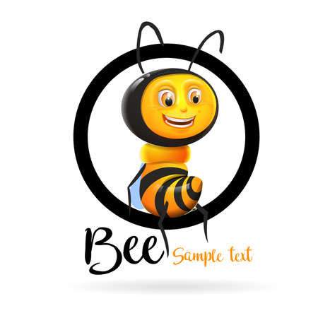 Bee cartoon logo: Smiling bee sitting on black circumference