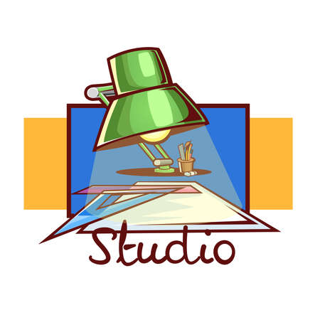 Architecture studio logo: Lamp and material for making planes