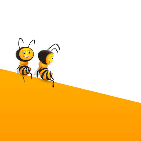Two happy bees sitting on yellow structure