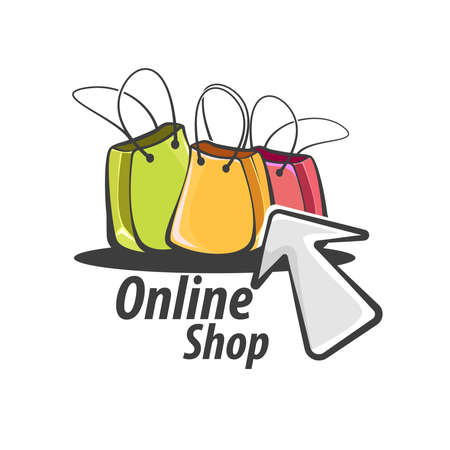 Online Shopping Logo: Shopping bags and computer mouse pointer
