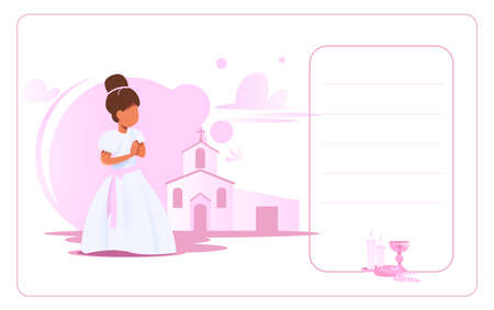 Invitation card My first communion: Little girl dressed in white to celebrate the Catholic communion. Vector 일러스트