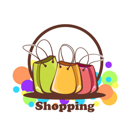 Logo shopping new collection: shopping bags of different colors Stock Illustratie