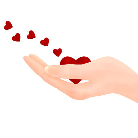 Illustration of a hand holding out a heart, with smaller hearts flying off to the left of frame, in the manner of blowing a kiss, or sending out love on the wind. illustration