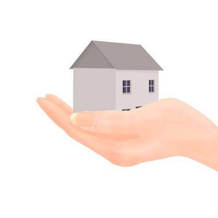 georgian: Illustration of a hand (feminine) holding a plain grey house with dark grey roof, sash windows and plum curtains.  Isolated on white background.