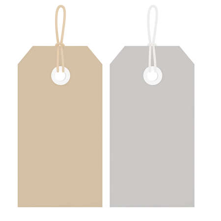 oblong: Illustration of two price or luggage tags, one buff coloured, one grey, with string.  Isolated on white background.