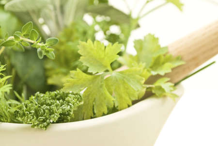 naturopath: Closeup of herbs with cream pestle and mortar.