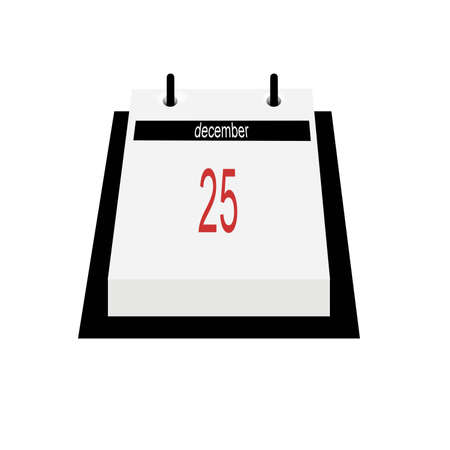 december 25th: Illustration of desktop flip style calendar, opened on December 25th.  Isolated on white background.