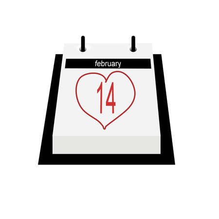 Illustration of a flip style desk calendar, opened on February 14th, which is encircled by a penned heart shape in red ink.  White background. illustration