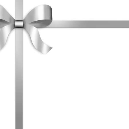 Illustration of silver satin ribbon, tied with bow on upper left side of frame.  White background provides copy space.  Stock Photo