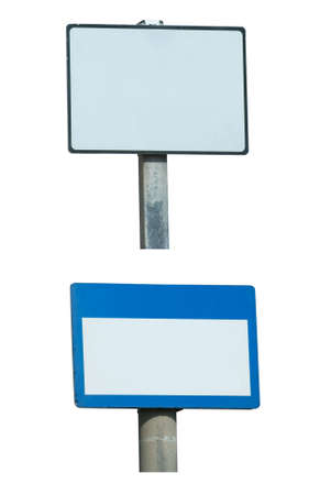 Two street signposts, white backgrounds with copy space, and black/blue borders, respectively, on metal posts.  Isolated. Stock Photo - 5884911