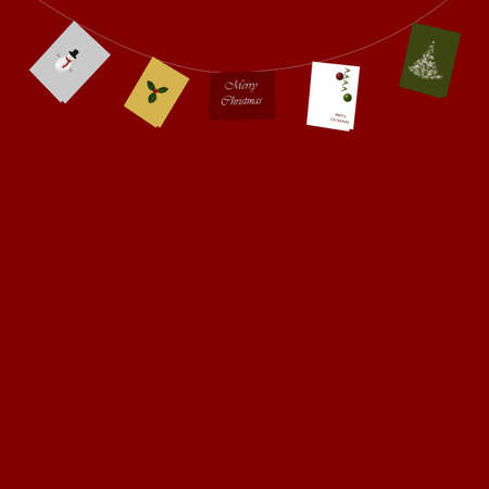 inverse: Illustration of five illustrated Christmas greeting cards, suspended in an inverse arc against a red background