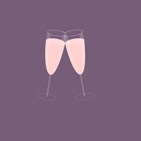 clinking: Illustration of two champagne glasses or flutes, clinking together in celebration.  Plum background.