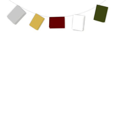 inverse: Illustration of five coloured greetings cards with blank covers providing copy space; suspended in an inverse arc against a white background.   Stock Photo