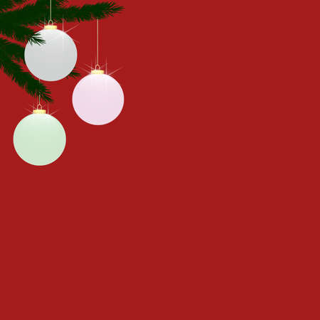 Three frosted glass (translucent) baubles, hanging from Christmas tree branches on upper left side of frame.  Plain red background provides copy space to the right and below. photo