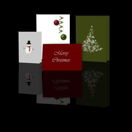 Illustration of illustrated Christmas cards displayed on a reflective black surface. illustration