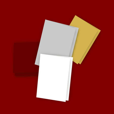 providing: Illustration of five greeting cards with blank covers and white background providing copy space.  Scattered on a dark red surface.  Stock Photo