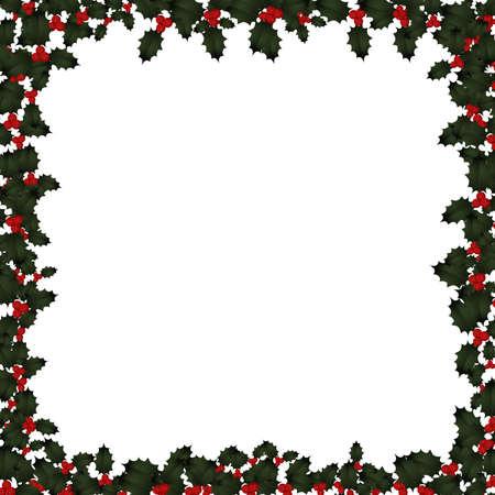 Illustration of holly leaves and berries framing a white background. illustration