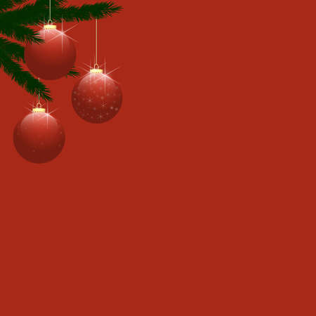 Three red shiny baubles, hanging from Christmas tree branches on upper left side of frame.  Plain red background provides copy space to the right and below. photo