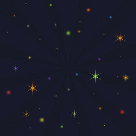 forwards: Illustration of a night sky with rays emitting from the centre and stars and glowing spheres bursting forwards. Stock Photo