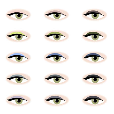 Illustration of single eyes with green iris, made up in various shades of eye shadow, laid out in columns of light, medium and dark tones. White background. illustration