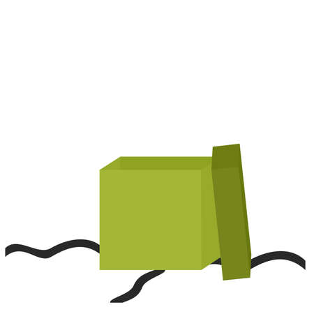 trailing: Illustration of a green gift box that has been opened with cut ribbon trailing.  White background. Stock Photo