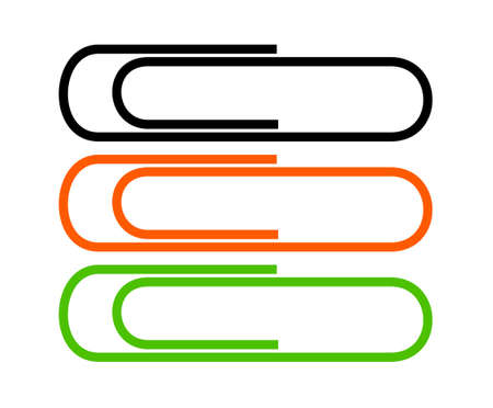 organise: Illustration of three paperclips in a vertical line, black, orange and green.  White background. Stock Photo