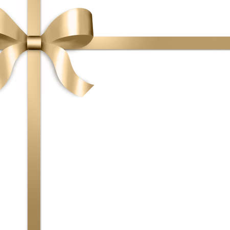 Illustration of gold satin ribbon, tied with bow on upper left side of frame.  White background provides copy space.