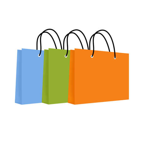 three angled: Illustration of three brightly coloured shopping bags with rope handles, angled against each other in a row.  Isolated on a white background.