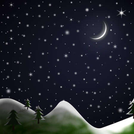 Illustration of a star-lit Winter night with snow topped grassy hills, fir trees, crescent moon and falling snow.