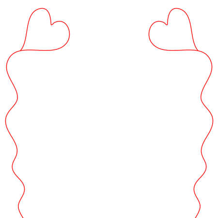 side border: Simple, child-like illustration of heart-shaped balloons on strings.  One on each side of the frame provides a border.  White background. Stock Photo