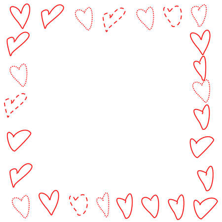 youthful: Illustrated frame of heart outlines in a doodled, youthful style.  Red, solid, dashed, and dotted lines.  White background. Stock Photo