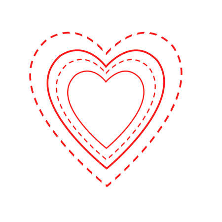 indicative: Illustrated heart shapes in alternate red solid and dashed lines, indicative of needlecraft and road markings.  White background. Stock Photo