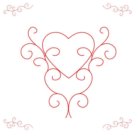 centred: Illustration of a heart outline, centred and supported by ornate, yet contemporary, scrolls.  Red with white background.