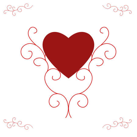centred: Illustration of a red filled heart, centred and supported by ornate, yet contemporary, scrolls.  Red with white background. Stock Photo