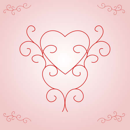 centred: Illustration of a heart outline, centred and supported by ornate, yet contemporary, scrolls.  Soft pink and white gradient background.