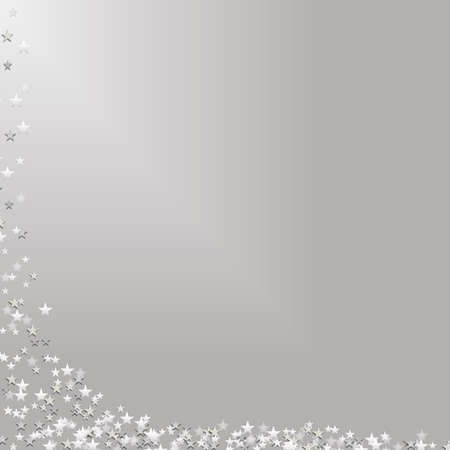 collecting: Illustration of stars falling down left side and collecting across bottom of frame.  Silver background (gradient).