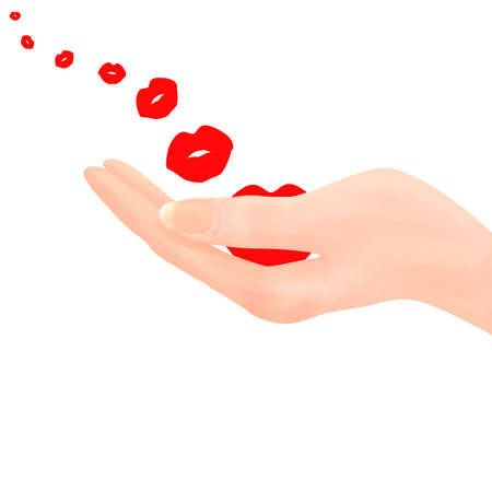 air kiss: Hand holding lip shape to represent a kiss, with progressively smaller kisses being carried on the air into the distance.